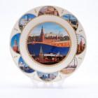 Сувенирная керамическая белая тарелка - Московский Кремль5 19,5см