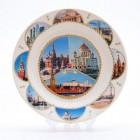 Сувенирная керамическая белая тарелка - Москва9 19,5см