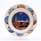 Сувенирная керамическая белая тарелка - Московский Кремль ночной6 19,5см