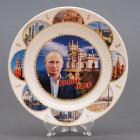 Сувенирная керамическая белая тарелка - Путин - Крым наш на фоне Ласточкиного Гнезда 19,5см