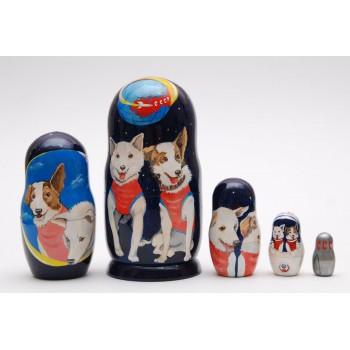 Матрешка собаки космонавты