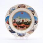 Сувенирная керамическая белая тарелка - Москва8  19,5см