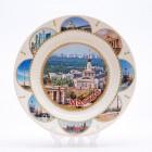 Сувенирная керамическая белая тарелка - ВДНХ 19,5см