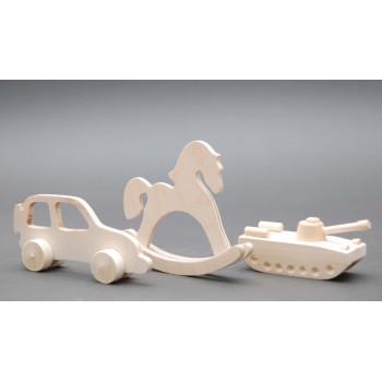 Набор деревянных игрушек для раскрашивания: лошадка, машина, танк