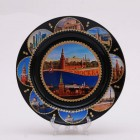 Сувенирная керамическая черная тарелка с наклейками - Москва 19,5см