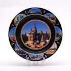 Сувенирная керамическая черная тарелка - Москва - Собор Василия Блаженного 19,5см