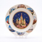 Сувенирная керамическая белая тарелка - Собор Василия Блаженного ночью 19,5см