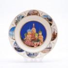 Сувенирная керамическая белая тарелка - Собор Василия Блаженного ночью3 19,5см
