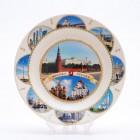 Сувенирная керамическая белая тарелка - Москва7  19,5см