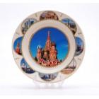Сувенирная керамическая белая тарелка - Храм Василия Блаженного 19,5см